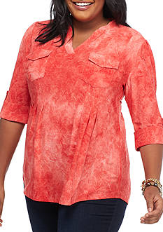 New Directions Roll Tab Jacquard Henley Top