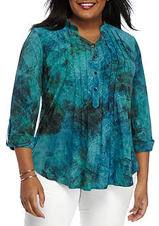 New Directions Plus Size Pleated Front Henley Top