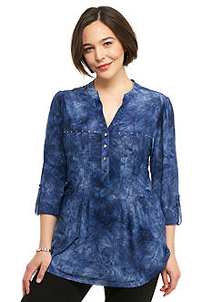 New Directions Plus Size Studded Jacquard Henley Top