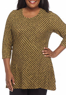 New Directions Plus Size Ribbed Pieced Hacci Sharkbite Top