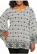 New Directions® Plus Size Woven Print Tunic