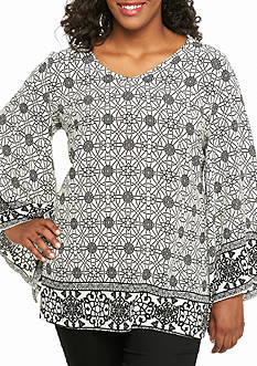 New Directions Plus Size Woven Print Tunic