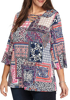 New Directions Plus Size Printed Bell Sleeve Top