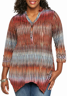 New Directions Plus Size Sharkbite Henley Tunic