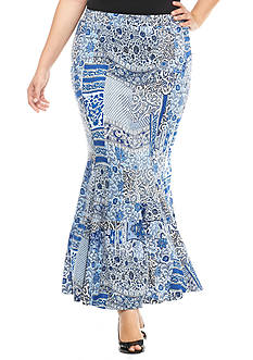 New Directions® Plus Size Patchwork Maxi Skirt