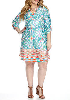 New Directions Plus Size Medallion Print Short Dress