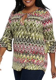 New Directions Plus Size Printed Bell Sleeve Lattice Yoke Inset Top