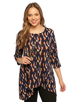 New Directions Plus Size Printed Top with Necklace