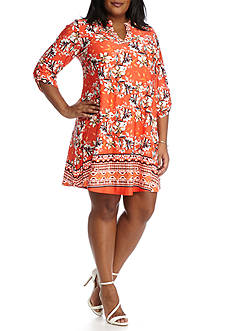 New Directions® Plus Size Floral Border Print Short Dress