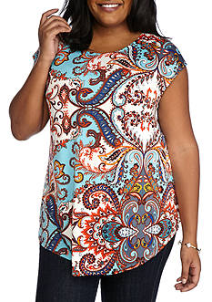 New Directions Plus Size Paisley Printed Swing Body Tunic