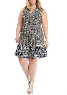 New Directions Plus Size Printed Henley Swing Dress