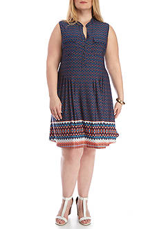New Directions Plus Size Henley Swing Dress