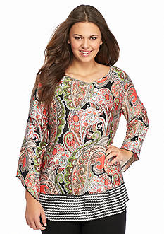 New Directions® Plus Size V-Neck Bell Sleeve Printed Tunic