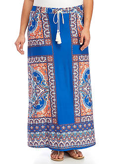 New Directions Plus Size Placed Print Tie Waist Maxi Skirt