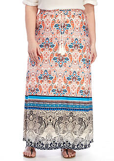 New Directions Placed Print Tie Waist Maxi Skirt