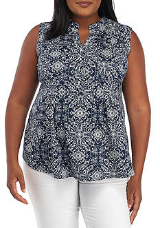 New Directions Plus Size Sleeveless Printed Henley