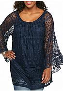 New Directions® Plus Size Solid Lace Tunic
