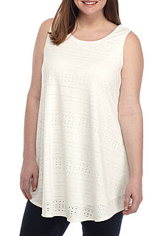 New Directions Plus Size Solid Eyelet Swing Tank Top
