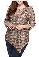New Directions® Plus Size Chevron Top