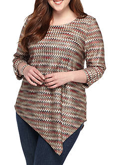 New Directions Plus Size Chevron Top
