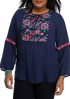 New Directions® Plus Size Embroidered Peasant Top