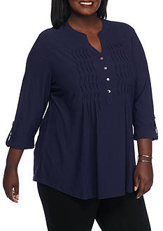 New Directions Plus Size 11-3/4 Henley Puckering Shirt