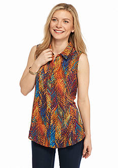 New Directions Petite Pixel Print Woven Top