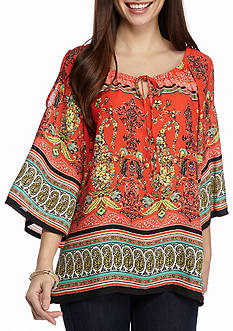New Directions Petite Mixed Print Cold Shoulder Top