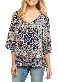 New Directions Petite Mixed Print Cold Shoulder Blouse