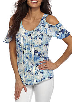 New Directions Petite Printed Cold Shoulder Flutter Blouse