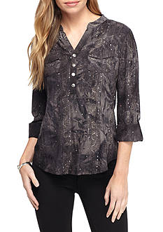 New Directions Petite Three-quarter Sleeve With Sequins Henley Top