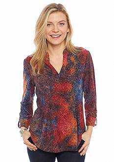 New Directions Petite Jacquard Henley Top