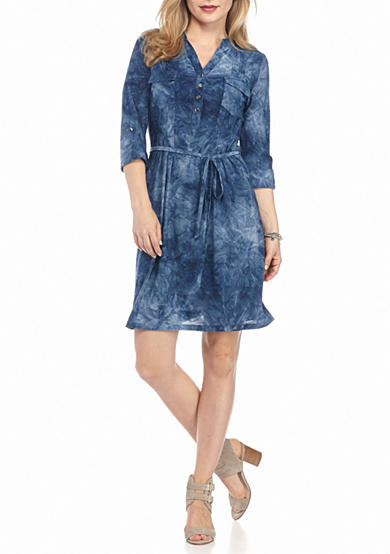 New Directions® Petite Ombre Jacquard Shirtdress