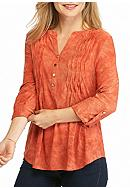 New Directions® Petite Wavy Pleat Henley Top