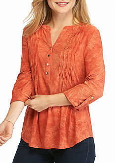 New Directions Petite Wavy Pleat Henley Top