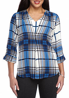 New Directions Petite Size Invisible Pleat Front Plaid Top