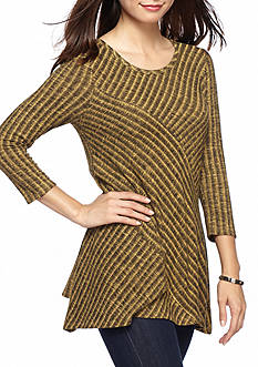New Directions Petite Size Ribbed Pieced Hacci Sharkbite Top
