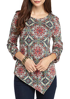 New Directions® Petite Size 3/4 Sleeve Printed Asymmetrical Top