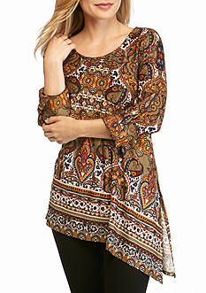 New Directions Petite Medallion Printed Slit Top
