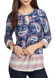 New Directions Petite Size Printed Top With Roll Tab Sleeve