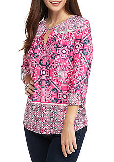 New Directions Petite Size Printed Top With Roll Tab Sleeves
