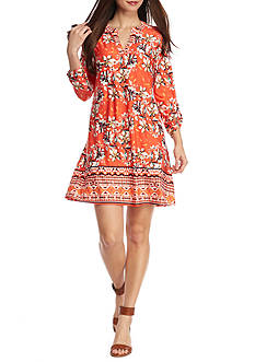 New Directions Printed Floral Border Dress