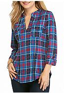 New Directions® Petite Size Plaid Henley