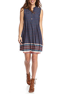 New Directions Petite Printed Henley Swing Dress