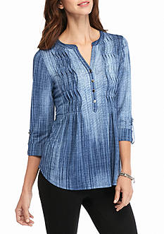 New Directions Petite Wavy Pleated Henley Top