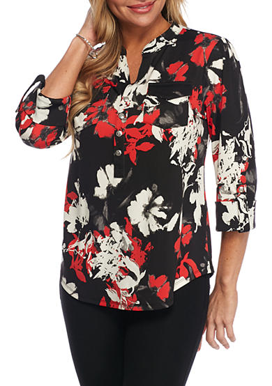 New Directions® Petite Three-Quater Floral Blouse with Front Pockets