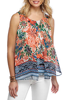 New Directions Petite Printed Knit to Woven Flyaway Top