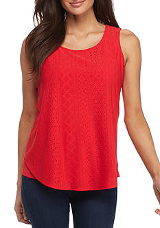 New Directions Petite Solid Swing Eyelet Tank Top
