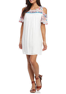 New Directions Petite Embroidered Cold Shoulder Dress