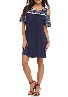 New Directions® Petite Embroidered Cold Shoulder Dress